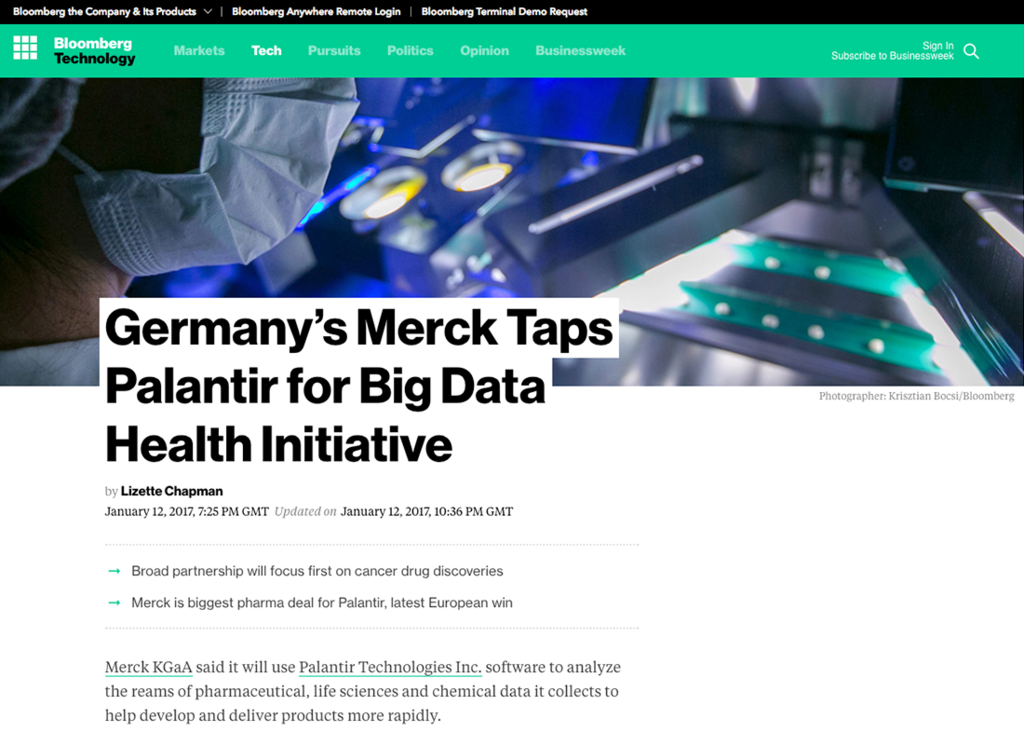 Germany's Merck Taps Palantir for Big Data Health Initiative