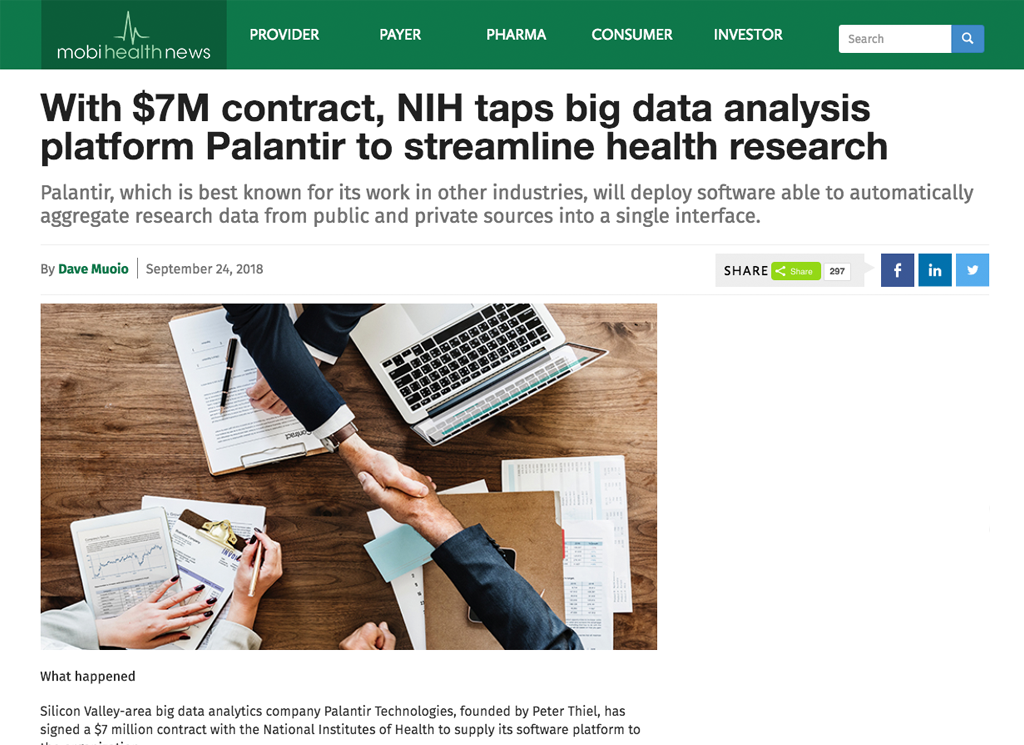 With $7M contract, NIH taps big data analysis platform Palantir to streamline health research